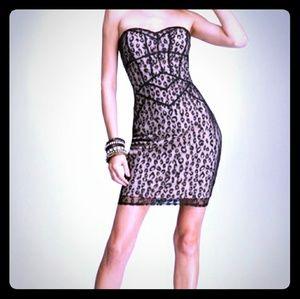 Bebe Leopard Mesh Bustier Dress